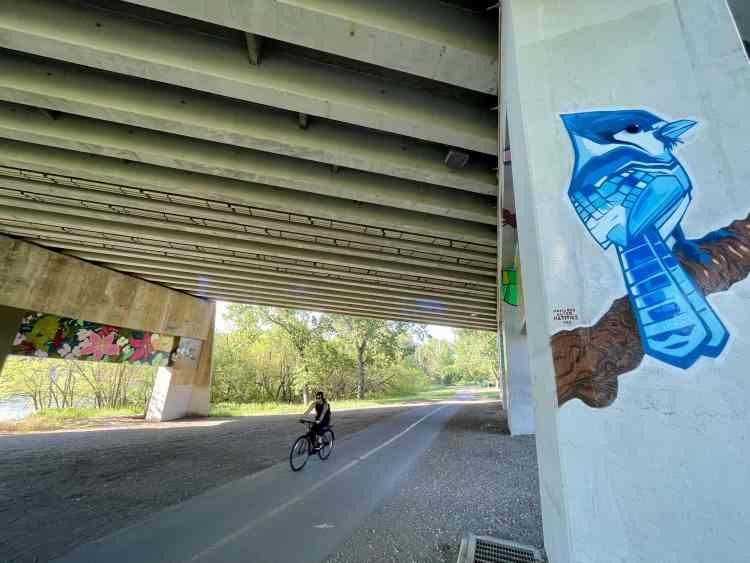 Biking in Edmonton passed urban art
