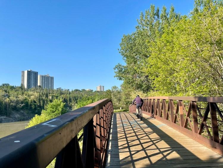 Biking in Edmonton over bridges