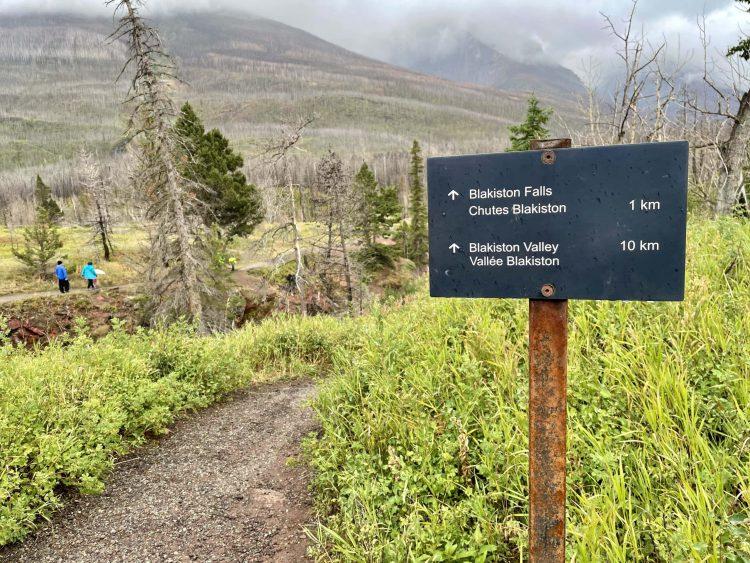 Blakiston Falls hike sign