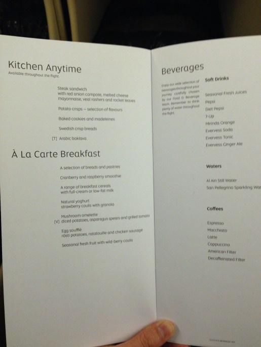 Etihad breakfast and snacks