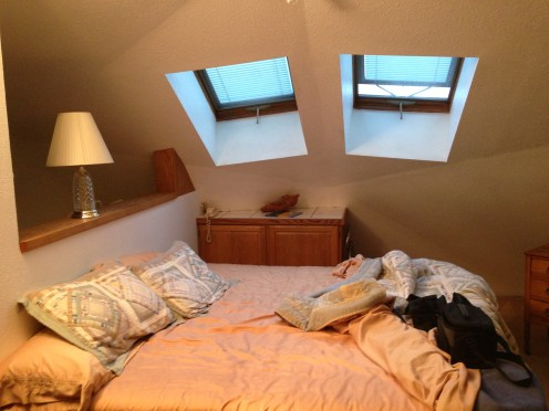 Our bed and skylights