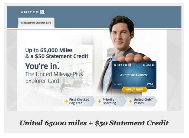 Recent promotion for Chase United explorer card with 65,000 mile signup bonus