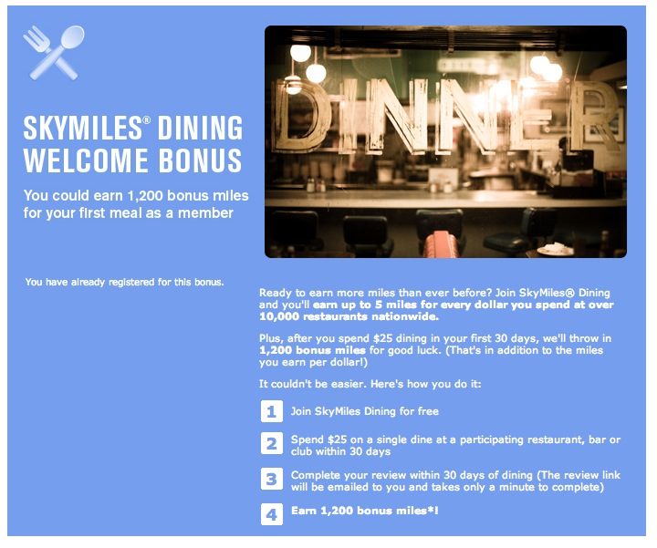 Example of a dining rewards signup bonus