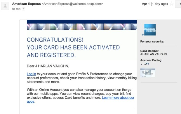 Activation notification via email from American Express