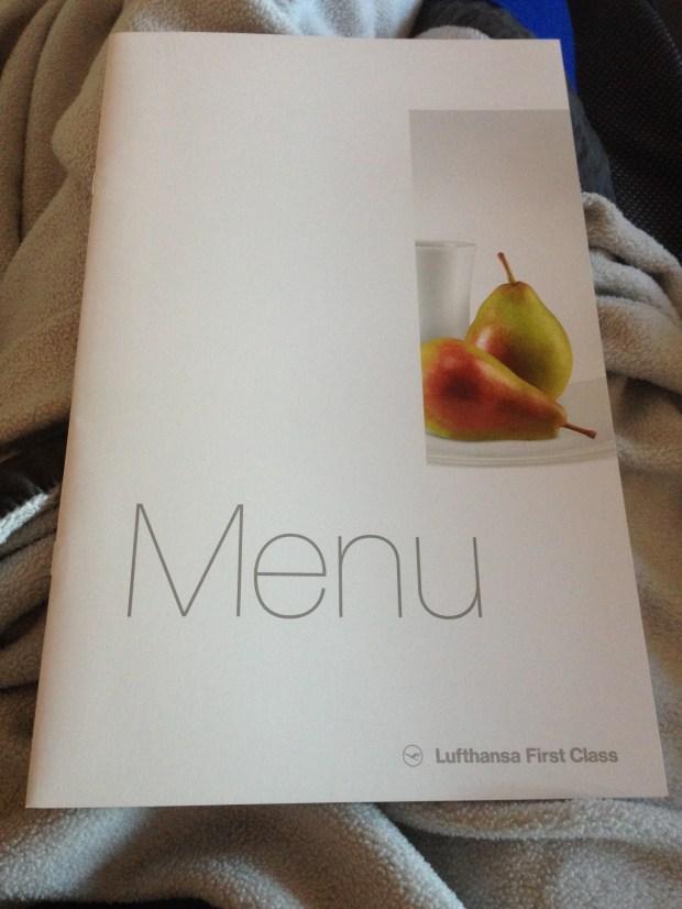 Lufthansa First Class Menu