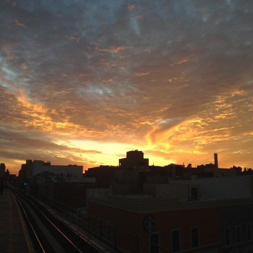 Sunset at N/Q Astoria Blvd station  in Queens