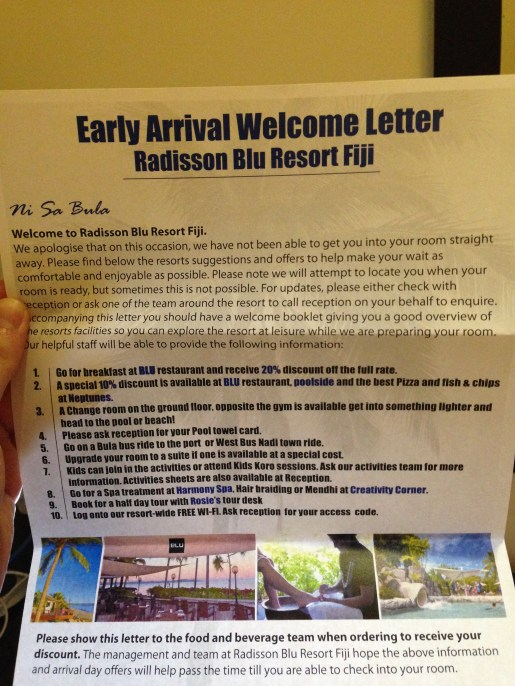 """Early Arrival Welcome Letter"""