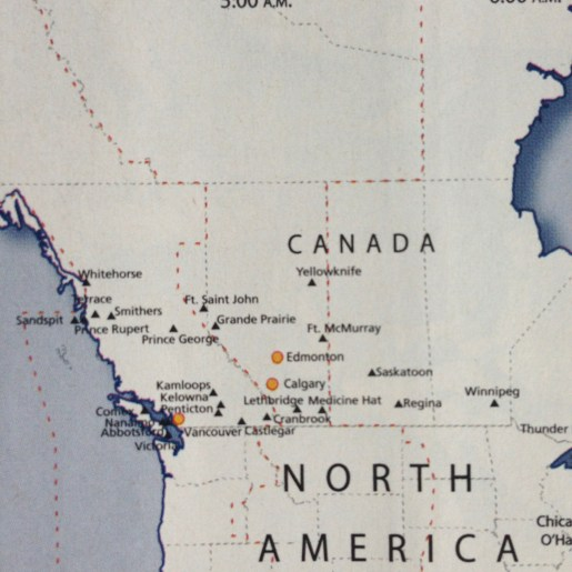 US Airways map of Canada