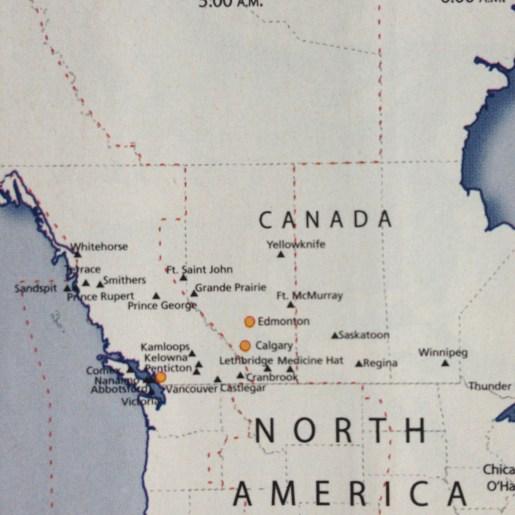 US Airways map of Canada
