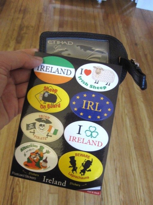 Ireland stickers and luggage tag from Etihad
