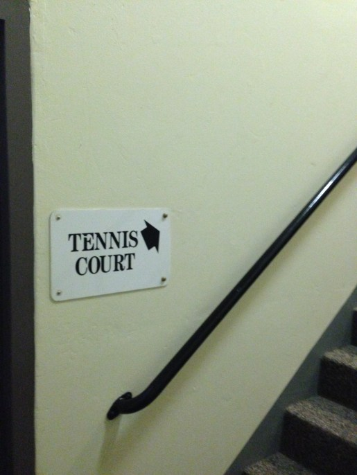 Stairs to tennis court