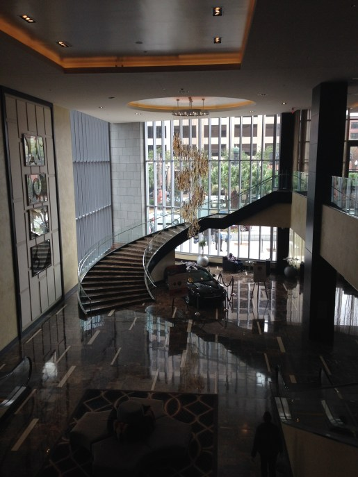 Staircase leading down to the lobby