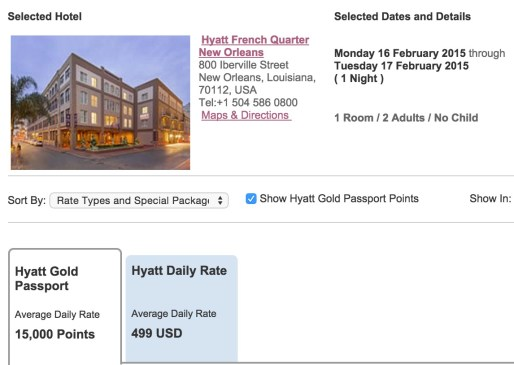Hyatt French Quarter availability - 15,000 points or $500?