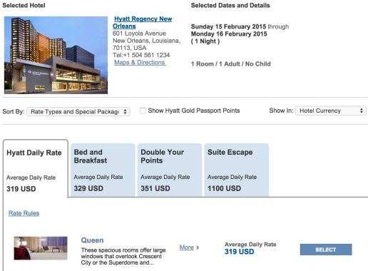Hyatt Regency daily rate