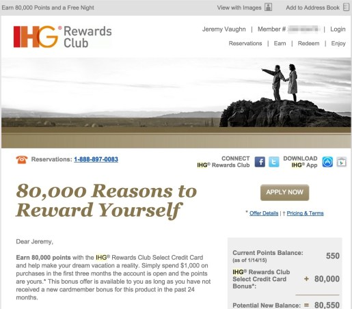Chase IHG targeted email