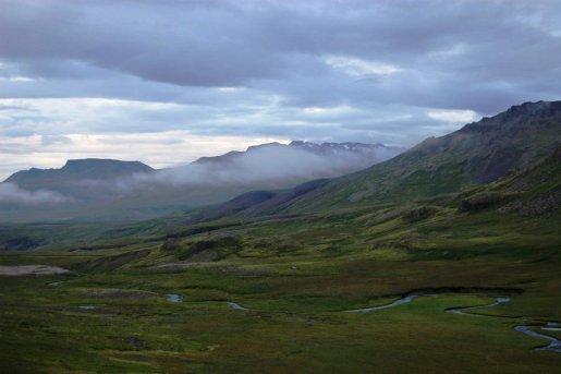 Goosenecks in a mountain valley on Snaefellsnes