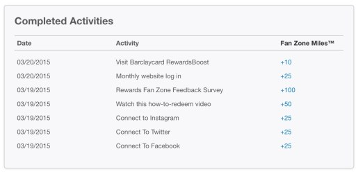 My Rewards Fan Zone activity