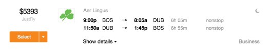BOS-DUB on Aer Lingus business class