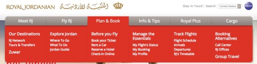Royal Jordanian website interface