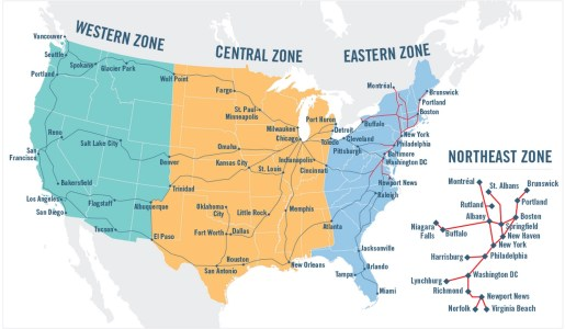 Amtrak zones