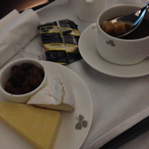 Cheese plate and coffee