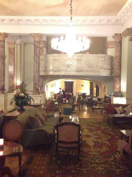 The lobby with its chandelier and box seating