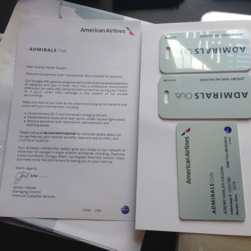 Admirals Club welcome letter and membership card