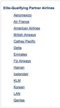 Alaska has an interesting list of elite-qualifying partners, including American and Delta