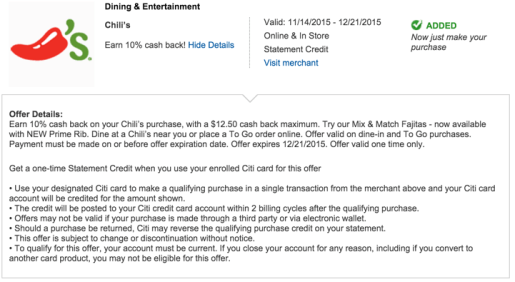 T&Cs of the Chili's offer