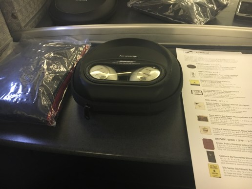 Bose headphones and amenity kit