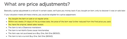 kohl's price adjmustment