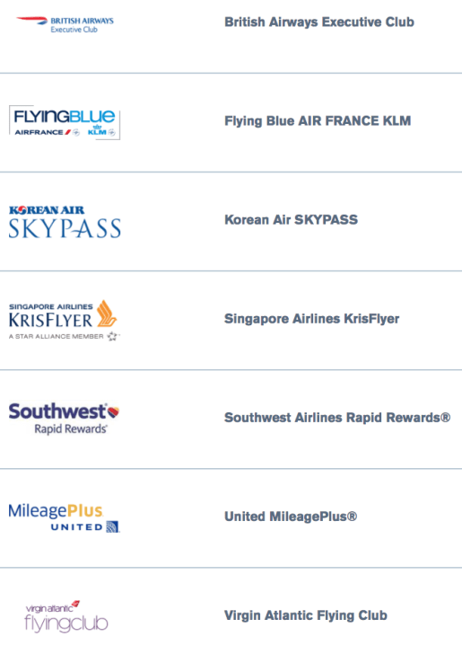 Chase's short but powerful list of airline transfer partners