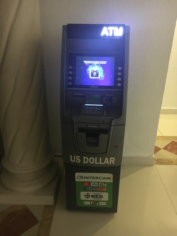 There are ATMS with US dollars and Mexican pesos