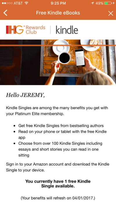 ihg kindle offer