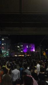 Crowds at Federation Square taken from Flinder's Street Station