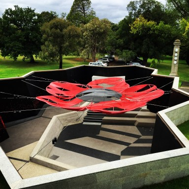Poppy design suspended above The Shrine of Remembrance's education centre