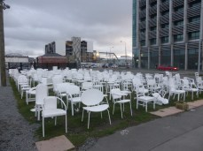 185 chair memorial in honour of the 185 who died in the earthquakes