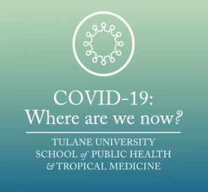 Blue green gradient with information about covid-19:Where are we now webinar