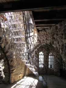 Inside Bishops Castle. An iron staircase.