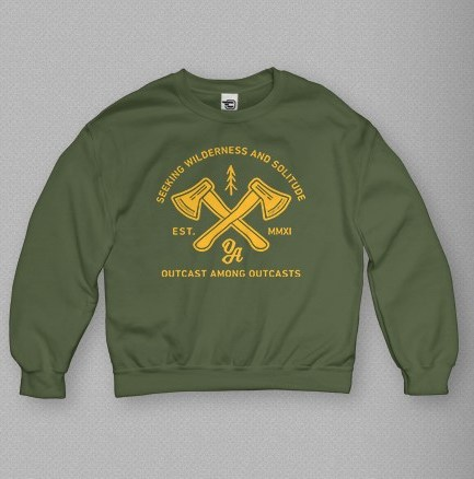 seeking wilderness and solitude green sweatshirt, crewneck outcast among outcasts