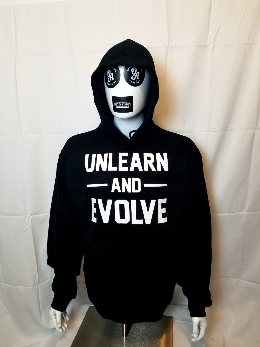 unlearn and evolve hoody sweatshirt Outcast Agenda Clothing