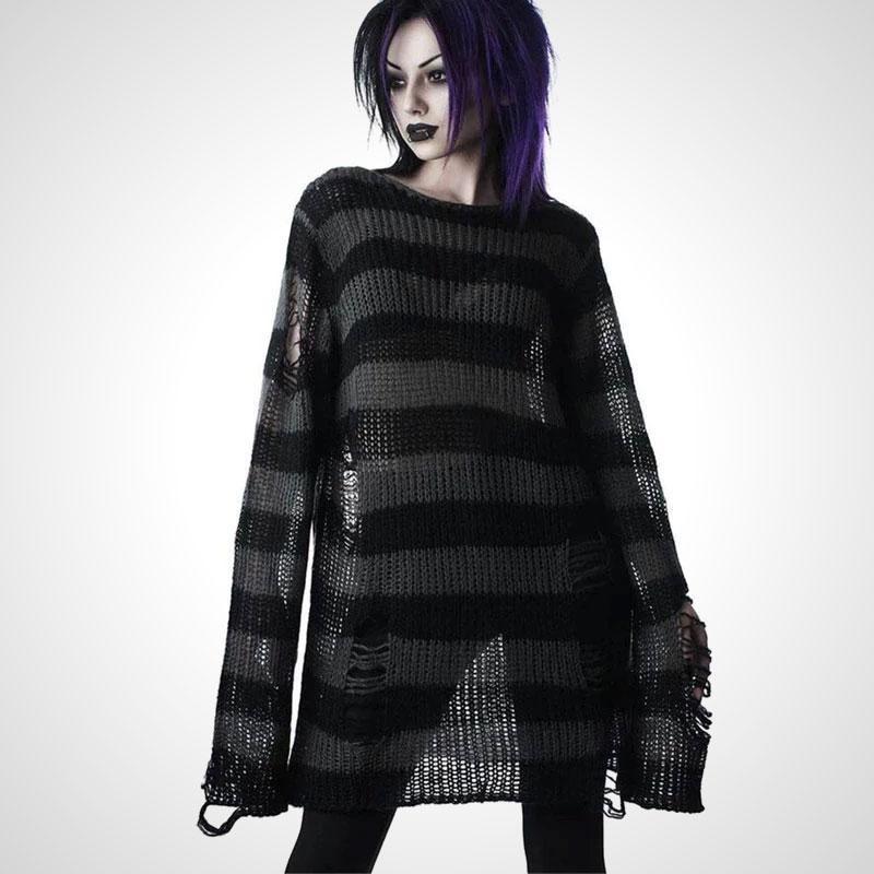 Tatterdemalion Worn Punk Gothic Long Unisex Scruffy Stripy Sweater Dress Outcast Rebellion