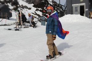 LGBTQ Ski Weekend Mt Bachelor Rainbow Flag
