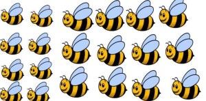 Lez Bee Happy logo image of several cartoon bees