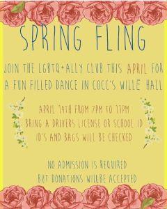 Spring Fling Dance! poster cocc lgbtq+ ally club