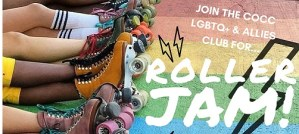 Roller Jam COCC poster roller skates and rainbow background