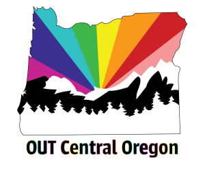 Out Central Oregon Logo iconceptual drawing of the outline of state of oregon with a rainbow coming from behind cascade mountains and forest
