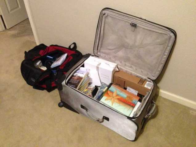 Left suitcase goes via plane to France, right suitcase goes via car to Florida.