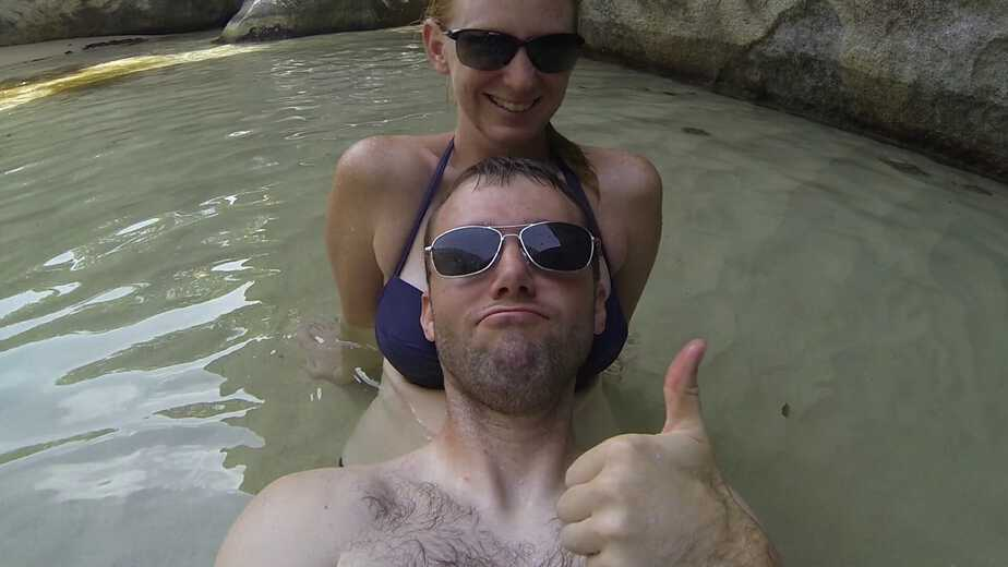 Amy and David at the Baths in Virgin Gorda, British Virgin Islands.