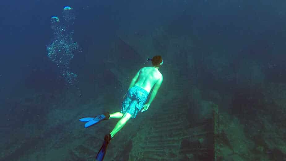 David diving the wreck of the Rhone in the British Virgin Islands.